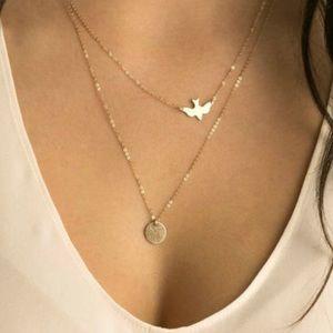 Double layer bird and pendant necklace
